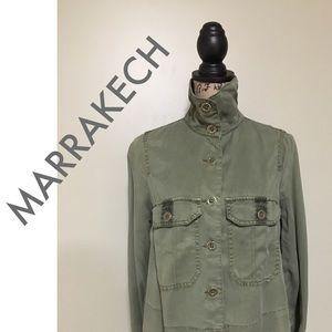 Anthropologie Marrakech Green Army Swing Jacket